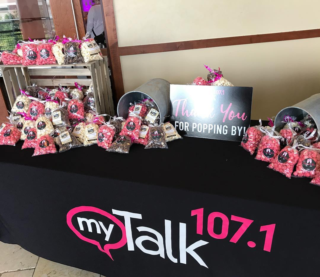 Wow. What a cute display from Popped Corn! Celebrating @mytalk1071 15th anniversary. I think i have been there 12 of the 15 so cheers! #weeklydish @stephaniemarch @mereonair