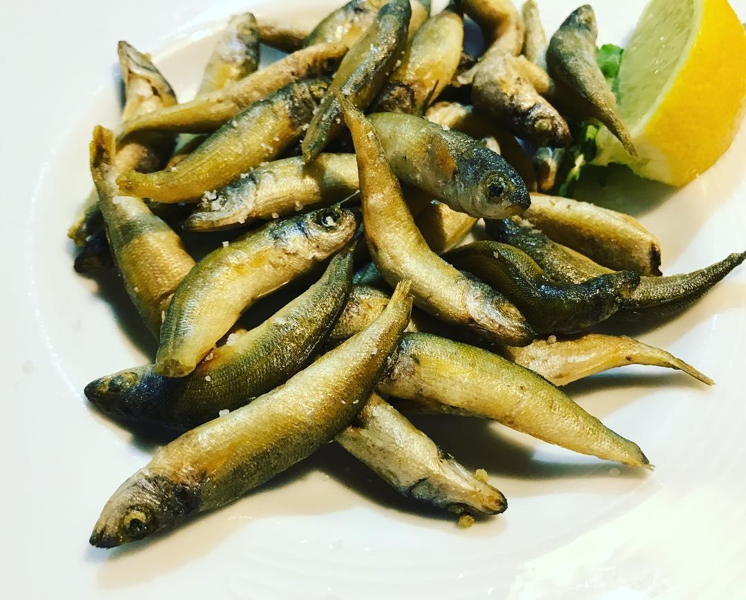 Fried oily little fishes! You eat them whole and it's like Friday Wisconsin fish fry! #weeklydish #stephaniesdish #croatia #sailing #korcula