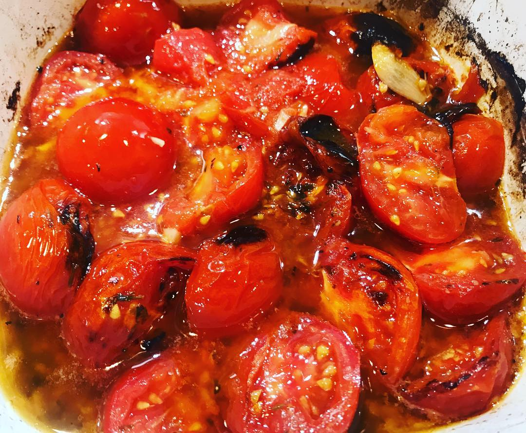 My easiest recipe   Cut tomatoes in half  You can use cherry or the