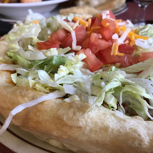 Last nights dinner. Navajo fry bread with chili on it topped with lettuce, tomato and cheese. #indiantacos #monumentvalley #weeklydish #stephaniesdish #utah #gouldingslodge