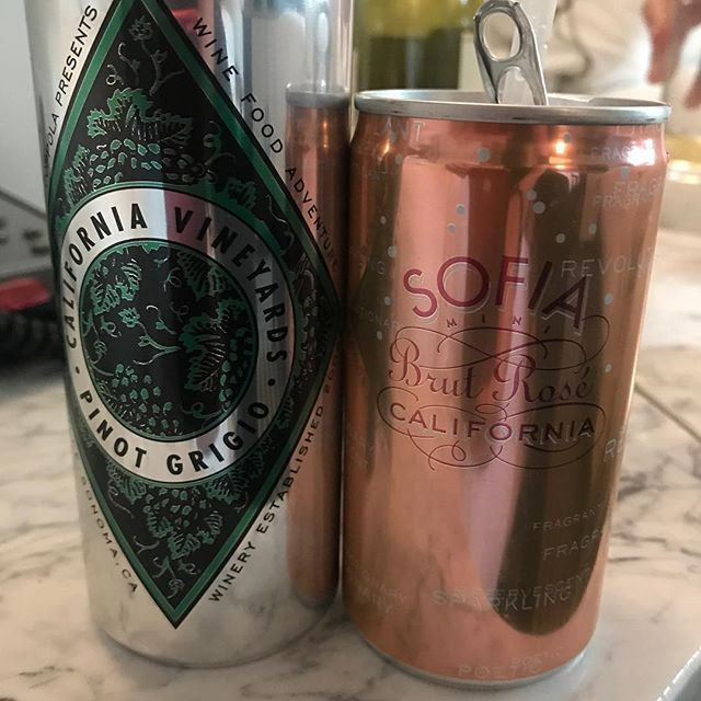 Some new canned cocktail love! The Sofia sparkling wine was awesome but the canned Pinot Grigio wasn't bad either! #weeklydish #stephaniesdish #cannedwine  #cannedwineisclassy #sophiabrutrosé @coppolawine #pinotgrigio