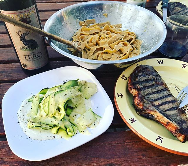 Oh hey Summer! #cabinmeal 2. Sunrise bakery sun dried tomato pasta from @goldenfig with lemon zest, juice, olive oil salt and pepper and parmesan with a @pettitpastures grass fed ribeye, zucchini peel salad on a bed of yogurt, mayo, mustard and Tarragon with a sprinkling of parm cheese and pepper and zero elevation wine from Fred Peterson a favorite of @surdyksliquor and @sipbetterwines #stephaniesdish #weeklydish #summer #cookingatthecabin #grassfedbeef #summer #petersonwines