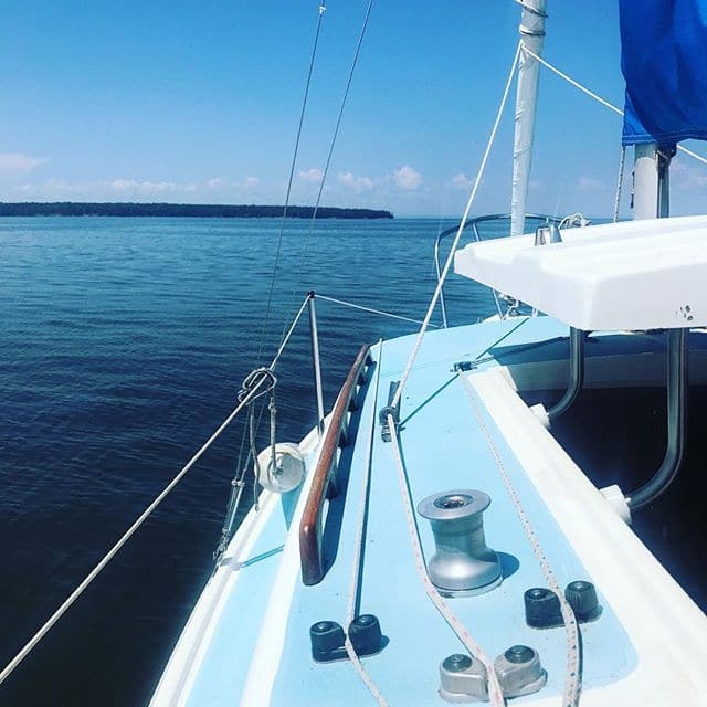 Beautiful day sailing – ok motoring- out of #cornucopiawisconsin with our friends. #lakesuperior was warm enough to swim 2x! #stephaniesdish #sailing #corny #cornucopiawisconsin #sailboat