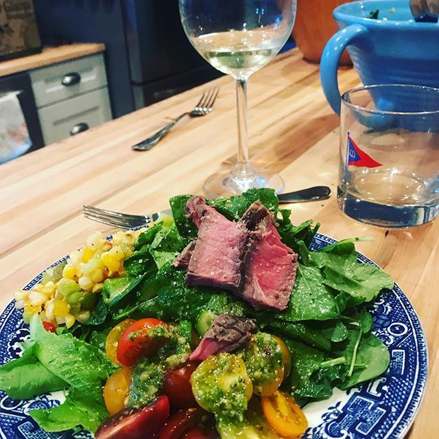 Steak salads! Fresh greens with a corn salsa and pesto Vinaigrette. #weeklydish #stephaniesdish #steaksalad #salad #healthy #freshgreens