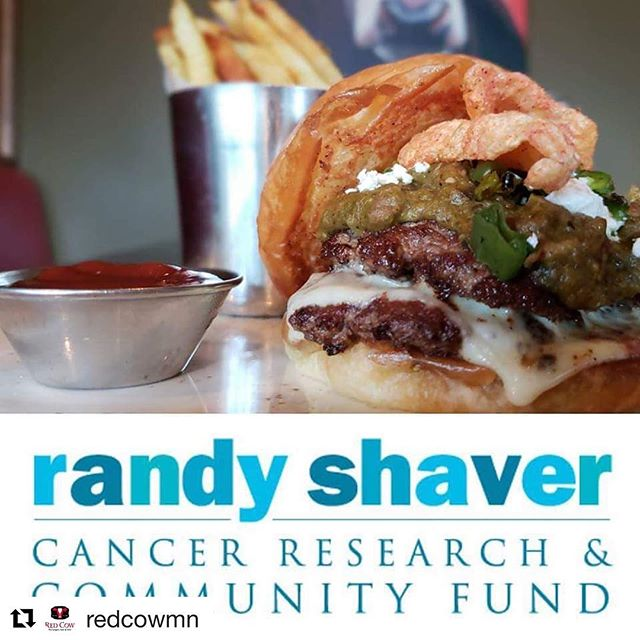 Two great organizations @redcowmn and @randyshavercancerfund teaming up to raise money for Cancer Research. As you know the @masoniccancercenter is near and dear to my heart and Randy Shavers foundation has contributed to valuable research there. Get a burger or 10 and donate! #stephmarch #weeklydish #charity #masoniccancercenter #masoniccancerresearch #curecancer #breastcancersurvivor #survivor