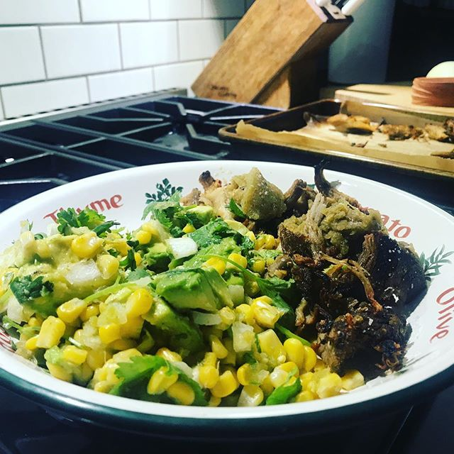 My dinner might be better than your dinner ;) roasted pork shoulder. Corn salsa with corn, tomatillo, lime, cilantro, avocado, jalapeno. Yum. #weeklydish #mytalk1071 #stephaniesdish #cookathome #dinner #pork