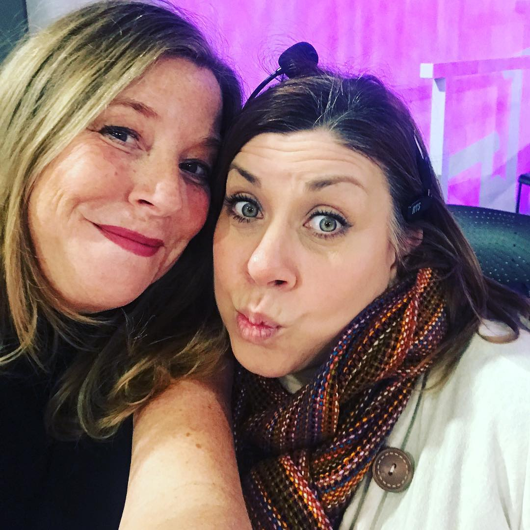 2 crazies. @erinschwabmn @stephaniesdish on set @jasonshowtv for chocolate day!!! . . . #stephaniesdish #jasonshowtv #jasonmatheson #chocolate #valentinesday2019❤️